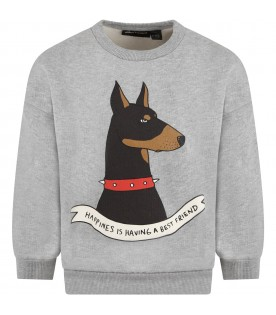Grey sweatshirt for kids with dog