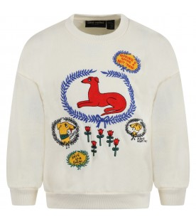 Ivory sweatshirt for kids with dogs and flowers