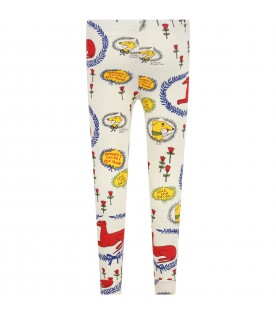 Ivory leggings for kids with dogs and flowers