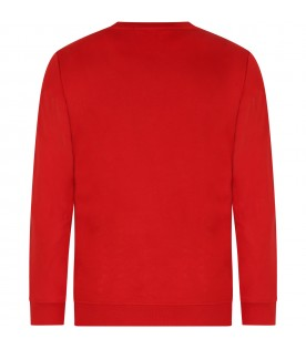 Red sweatshirt for kid with logo