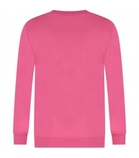 Pink sweatshirt for kid with logo
