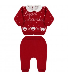 Red knit suit for babykids