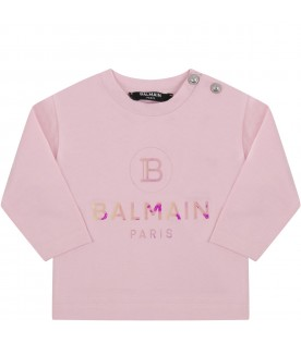 Pink  T-shirt with double logo for baby girl
