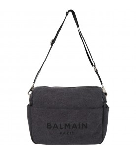 Grey changing bag for babykids with logo