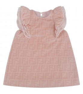 Pink dress for babygirl with double FF