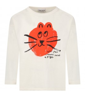 Ivory T-shirt for kids with red cat