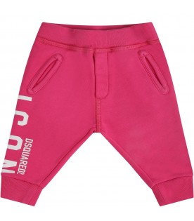Fuchsia sweatpants for babygirl with logo