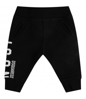 Black sweatpants for babykids with logo