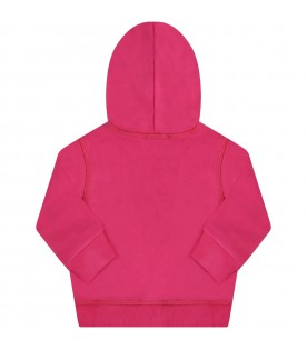 Fuchsia sweatshirt for babygirl with logo