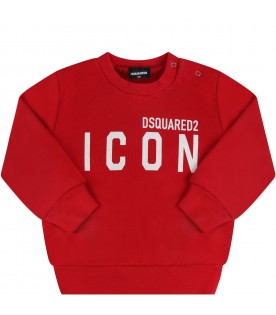 Red sweatshirt for babykids with white logo