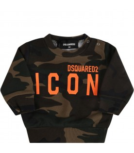 Camouflage sweatshirt for babyboy with logo