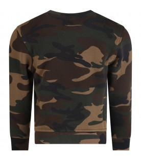 Camouflage boy sweatshirt with white logo
