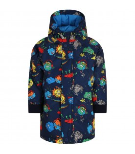 Blue jacket for boy with monster