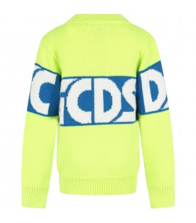 Neon yellow sweater for kids with logo