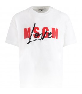 White T-shirt for girl with red logo