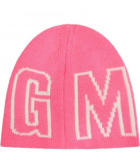 Neon fuchsia hat for girl with logo