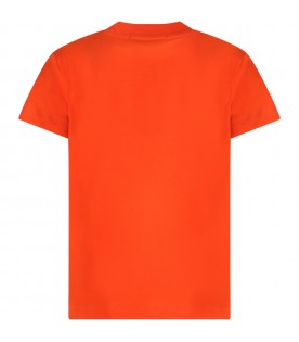 Orange T-shirt for kids with logo