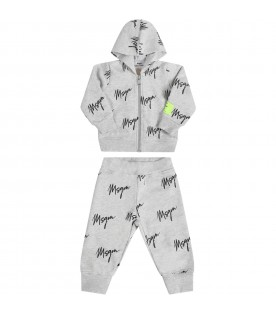Grey tracksuit for babykids with logos