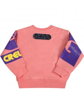Pink sweatshirt for babygirl with logo
