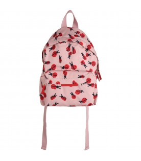 Pink backpack for girl with ladybugs