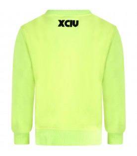 Neon lime sweatshirt for kids with logo
