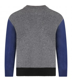 Grey sweater for kids with logo