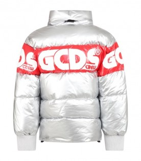 Silver jacket for kids with logo
