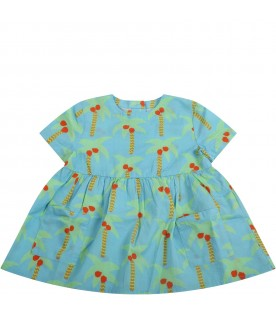 Light blue dress for babygirl with palm trees