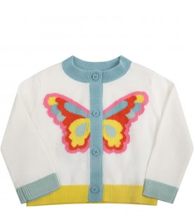 White cardigan for babygirl with butterfly