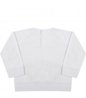 White sweatshirt for babyboy with paws