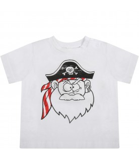 White t-shirt for babyboy with pirate