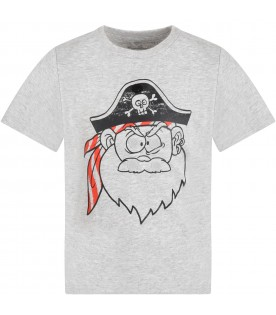 Grey t-shirt for boy with pirate