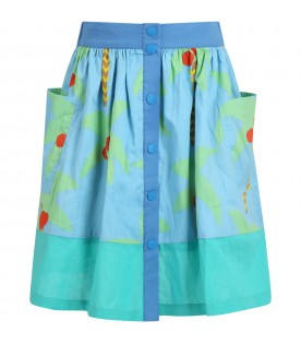 Light blue skirt for girl with palm trees