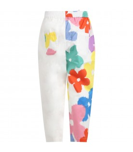White trousers for girl with multicolor floral print