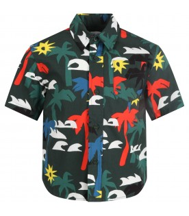 Green shirt for boy with palms