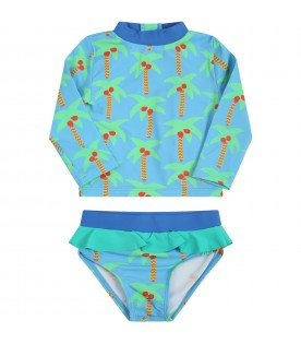 Light blue swim set for babygirl with palm trees