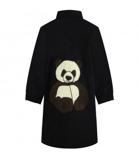 Black shirt dress for girl with panda