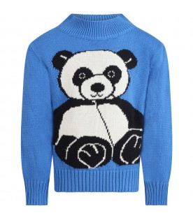 Light blue sweater for kids with panda