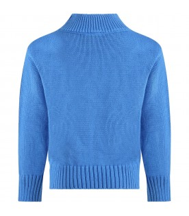 Light blue sweater for kids with chimpanzees