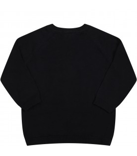 Black sweater for babykids with chimpanzees