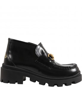 Black moccasin for kids with iconic bee