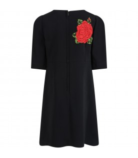 Black dress for girl with roses