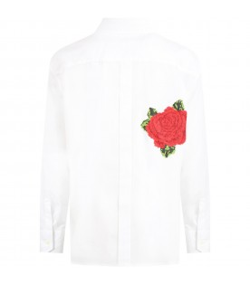 White shirt for girl with roses
