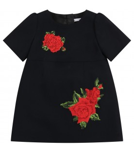 Black dress for babygirl with roses