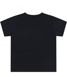 Black T-shirt for babykids with logos