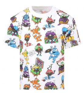 White T-shirt for boy with monsters