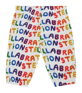 White swetpants for babykids with logos