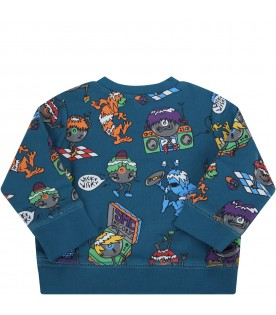 Blue sweatshirt for babyboy with monsters