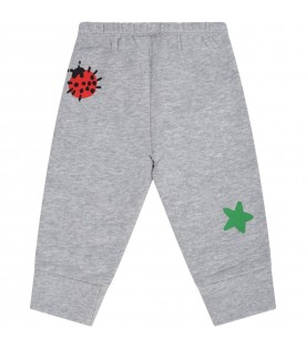 Grey sweatpants for babykids with prints