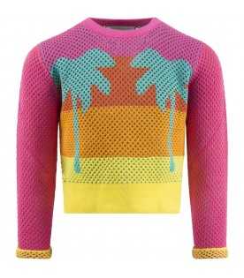 Multicolor sweater for girl with palms